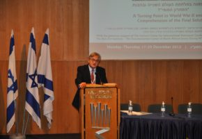 Giving the opening keynote adress at the Yad Vashem conference, Jerusalem, 17 December 2012